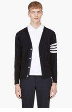 THOM BROWNE Navy Wool Racer Stripe Cardigan for men