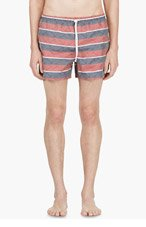 THOM BROWNE SSENSE EXCLUSIVE Red & Blue Anchor Print Swim Shorts for men