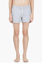THOM BROWNE White & Blue Striped Swim Shorts for men