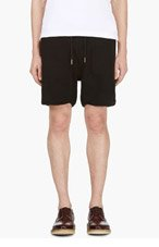 THOM BROWNE Black Ribbed Cotton Lounge Shorts for men