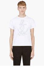 THOM BROWNE White Nautical Print T-Shirt for men