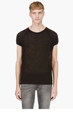SAINT LAURENT Black Knit Mesh Raglan T-Shirt for men