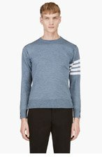 THOM BROWNE Heather Blue Racer Stripe Sweater for men