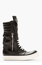 RICK OWENS Black Ultra High-Top Pocketed Sneakers for men