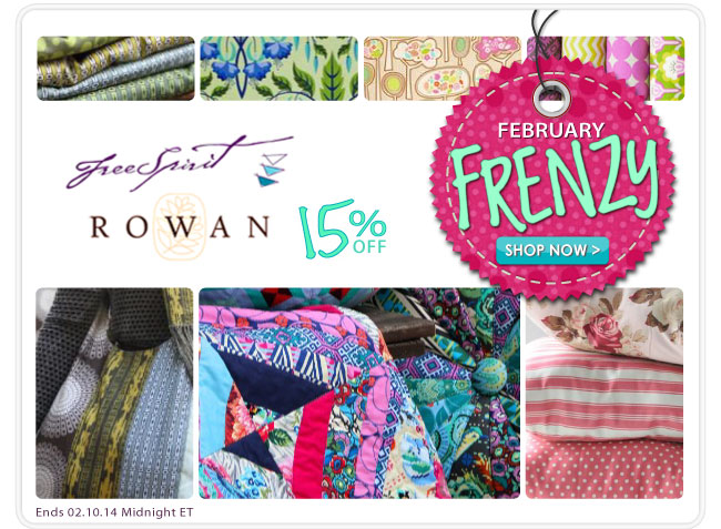 15% Off Free Spirit and Rowan Fabrics