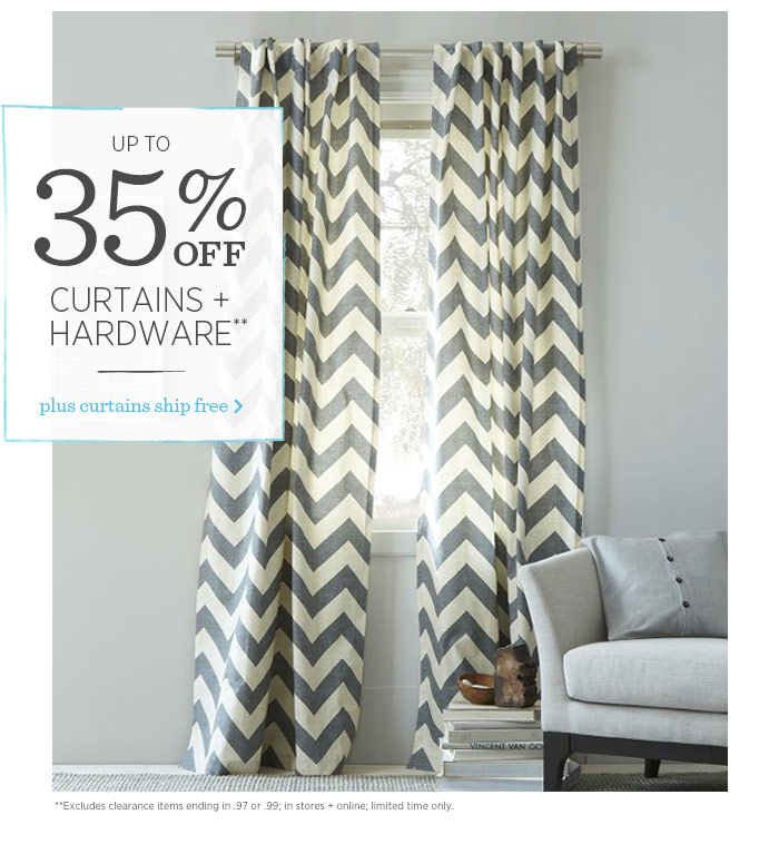 Up to 35% Off Curtains + Hardware**. Plus curtains ship free