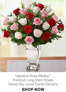 Valentine Rose Medley™ Premium Long Stem Roses Same-Day Local Florist Delivery Shop Now