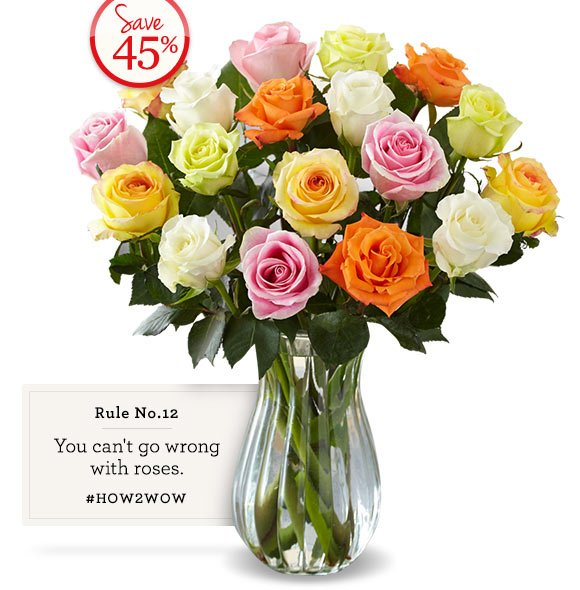 Limited Time Only! 18 Assorted Roses + Free Vase, just $34.99*! Save 40% Shop Now