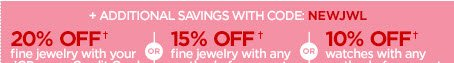 + ADDITIONAL SAVINGS WITH CODE: NEWJWL | 20%  OFF† fine jewelry with your JCPenney Credit Card OR 15% off† fine  jewelry with any method of payment OR 10% OFF† watches with any method  of payment