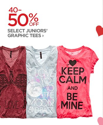40-50% OFF SELECT JUNIOR'S GRAPHIC TEES ›