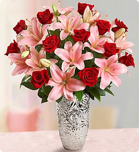 Romantic Rose and Lily Bouquet  Shop Now