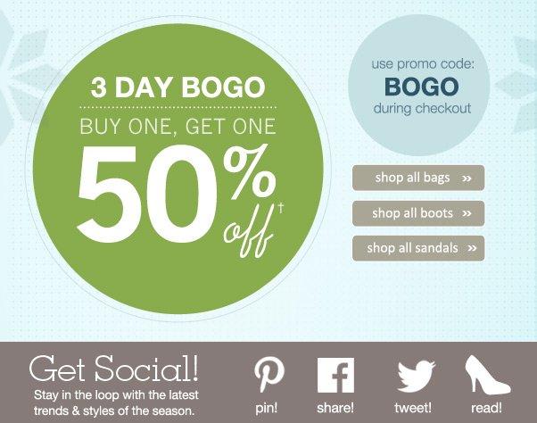 BOGO Sale! Buy 1 Item, Get 1 50% Off!
