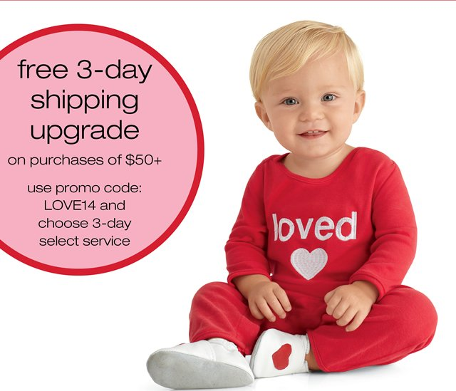 free 3-day shipping upgrade on purchases of $50+, promo code: LOVE14