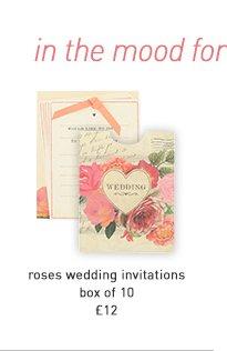 roses wedding invitations - box of 10