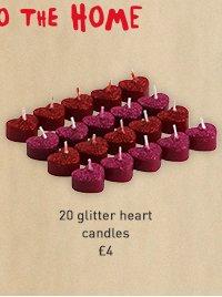 20 glitter heart candles