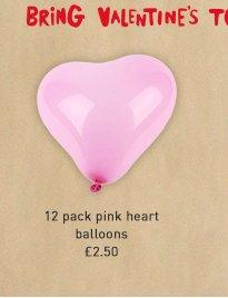 12 pack pink heart balloons