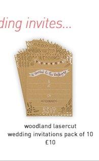 woodland lasercut wedding invitations-pack 10