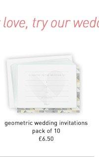 geometric wedding invitations - pack of 10