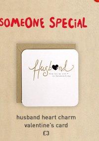 husband heart charm valentine's card
