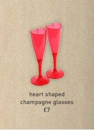 heart shaped champagne glasses