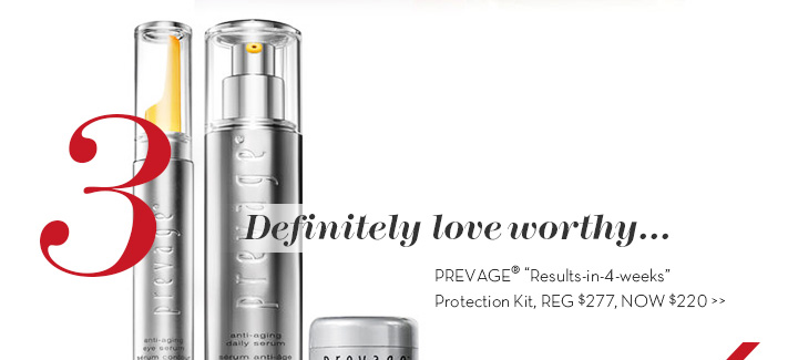 "3. Definitely love worthy... PREVAGE® ""Results-in-4-weeks"" Protection Kit, REG $277, NOW $220."