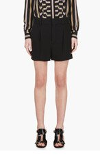 CHLOE Black Crepe Pleated Shorts for women