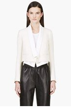 CHLOE CREAM & White layered Cropped BLAZER for women