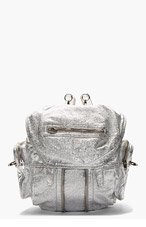 ALEXANDER WANG Silver Lambskin Metallic Marti Bucketbag Backpack for women