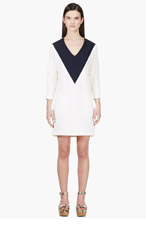 CHLOE Ivory & Navy COLORBLOCKED SAILOR DRESS for women
