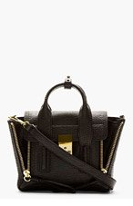 3.1 PHILLIP LIM Black Textured Leather Pashli Mini Satchel for women