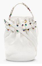 ALEXANDER WANG White Iridescent Studded Bucket Bag for women