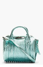 ALEXANDER WANG Teal Metallic Rockie Lambskin Duffle Bag for women