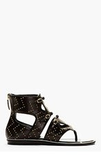 NICHOLAS KIRKWOOD Black Leather Studded High-Top Sandals for women