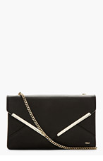 CHLOE Black Leather Envelope Clutch for women