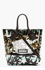 KENZO Black Calfskin & Transparent Vinyl Small Tote for women