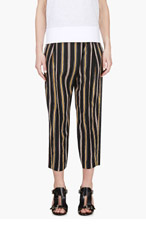 CHLOE Black Silk Striped Trousers for women