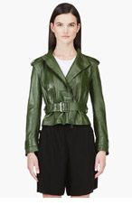 CHLOE Green leather Belted Biker jacket for women