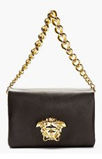 VERSACE Black leather Gold Logo Shoulder bag for women