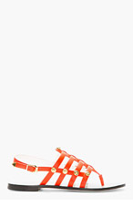 VERSACE Red Leather Medallion Sandals for women