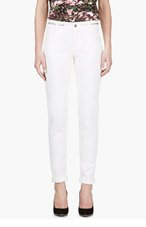 GIVENCHY Ivory WHITE ZIP-WAIST Jeans for women