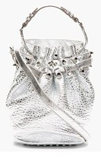 ALEXANDER WANG Silver-Tone Diego Lambskin Bucket Bag for women