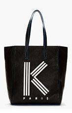 KENZO Black Large Logo Tote for women