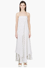 CHLOE Ivory & black Switch STRIPE DRESS for women