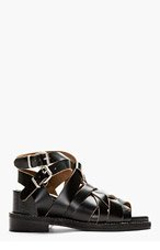 ACNE STUDIOS Black Leather Woven Lenna Sandals for women
