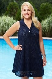 Plus Size Cover Ups - Always For Me Cover Zig Zag Embossed Tunic #14204