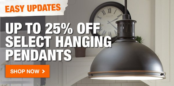 Up to 25% OFF select hanging pendants.