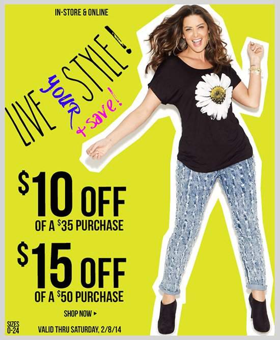 LIVE YOUR STYLE AND SAVE! 2 Special coupons just for you! Shop Now!