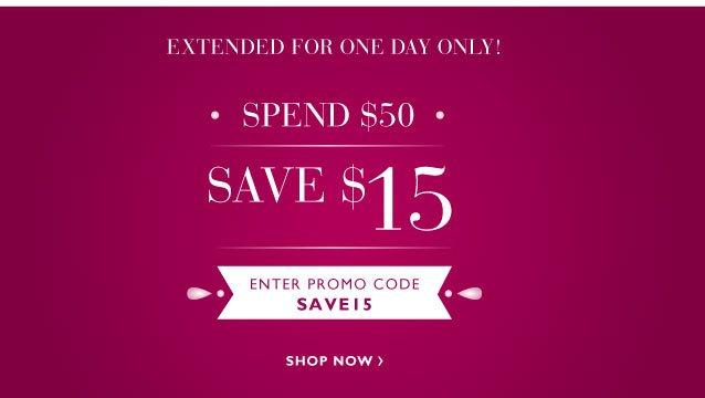 Spend $50 Save $15
