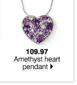 109.97 Amethyst heart pendant.