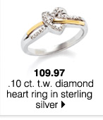 109.97 .10 ct. t.w. diamond heart ri ng in sterling silver.